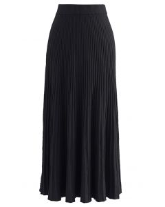 Side Vent High Waist Knit Skirt in Black