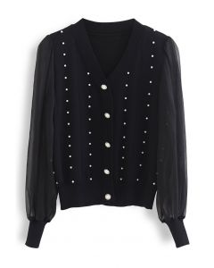 Sheer Sleeve Pearly Buttoned Knit Top in Black