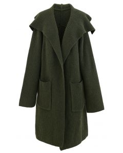 Army Green Wide Lapel Ribbed Knit Longline Cardigan