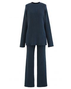 Rib Knit Split Hem Sweater and Pants Set in Teal