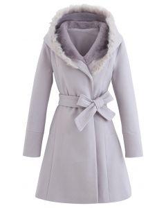 Faux Fur Hooded Wool-Blend Flare Coat in Lavender
