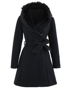 Faux Fur Hooded Wool-Blend Flare Coat in Black