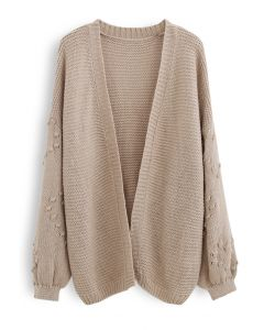 Open Front 3D Dot Trim Sleeves Knit Cardigan
