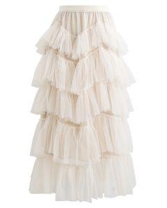 分層荷葉邊網紗半身長裙