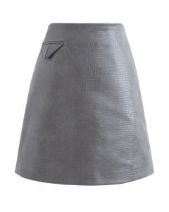 Crocodile Faux Leather Mini Skirt in Grey