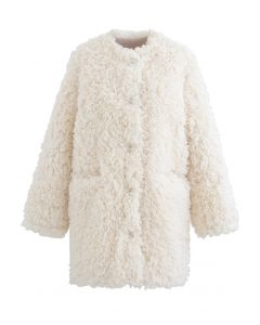 Collarless Shaggy Faux Fur Suede Coat in Ivory