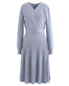 Belted Wrap Rib Knit Midi Dress in Dusty Blue