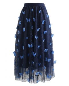 Double-Layered 3D Butterfly Lace Mesh Skirt in Navy