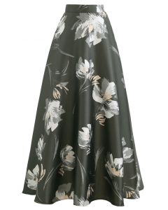 Blooming Floral Jacquard Maxi Skirt in Olive