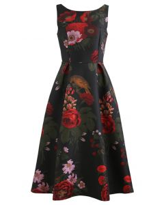 Gorgeous Rose Jacquard Sleeveless Midi Dress