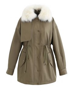 Faux Fur Collar Short Parka in Khaki