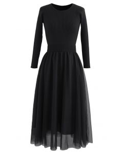 Elasticated Waist Knit Splice Mesh Dress in Black