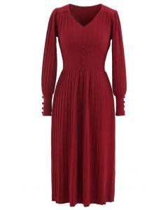 Button Decorated Pleated Knit Dress in Red