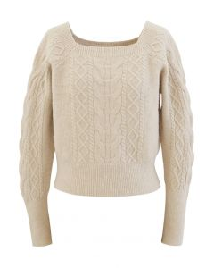 Cropped Square Neck Braid Knit Sweater in Sand