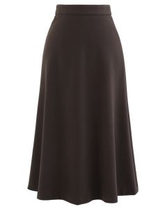 High Waist Basic Seamed Midi Skirt in Brown