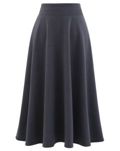 High Waist A-Line Flare Midi Skirt in Smoke