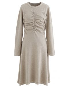 Ruched Front Flare Knit Midi Dress in Linen