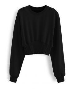 Cropped Padded Shoulder Sweatshirt in Black