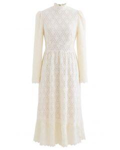 Fuzzy Full Floret Lace Mock Neck Dress in Cream