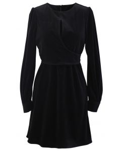 Corduroy Wrap Long Sleeves Mini Dress in Black