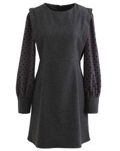 Dots Splicing Sleeves Mini Dress in Grey