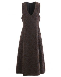 Embossed Floret V-Neck Sleeveless Dress in Smoke