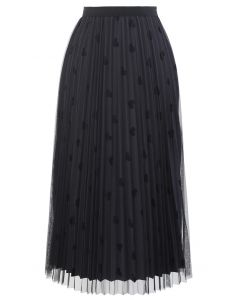 Mesh Overlay Heart Print Pleated Skirt in Smoke