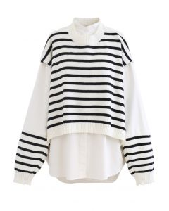 Fake Two-Piece Striped Hi-Lo Pullover in White