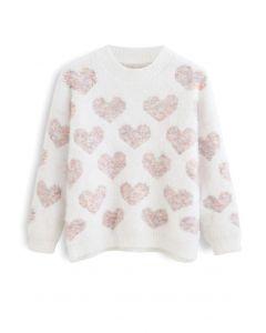 珍珠裝飾粉色愛心毛衣