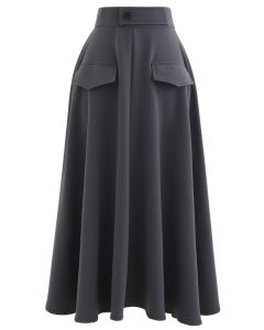 Dual Fake Pockets Buttoned Flare Skirt in Grey