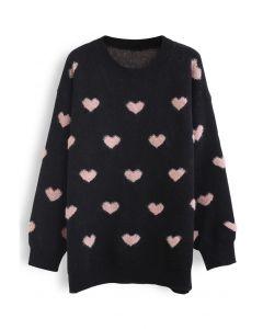 Pinky Heart Oversized Fuzzy Knit Sweater