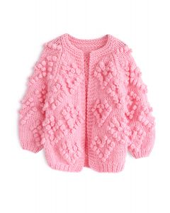 Knit Your Love Cardigan in Hot Pink For Kids