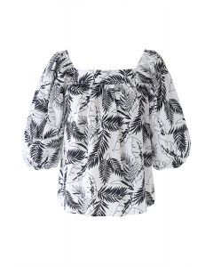 Square Neck Plantain Leaves Dolly Top in White