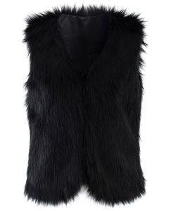 Chicwish Faux Fur Vest in Black