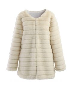 Quilted Faux Fur Coat in Cream
