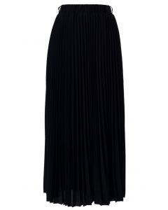 雪紡黑色百褶長裙