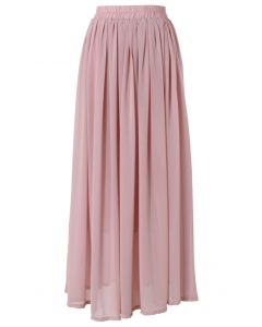粉色鬆緊腰身飄逸雪紡長裙