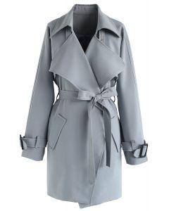 中長版綁帶外套-灰色