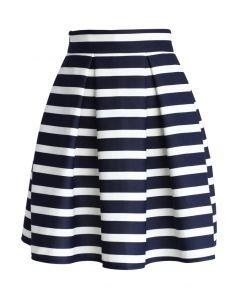 條紋褶皺半身裙