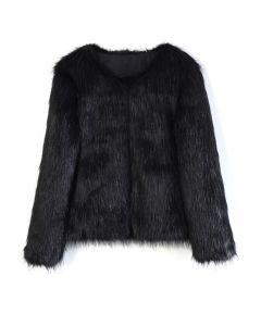 毛絨仿皮草外套-黑色