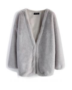 人造皮草外套-灰色