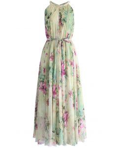 花卉雪紡掛脖式連身裙
