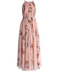 粉色玫瑰無袖吊帶裙