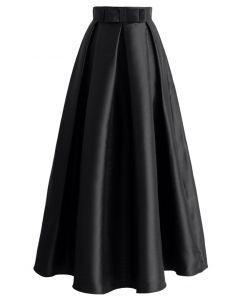 腰部蝴蝶結裝飾長裙-黑色