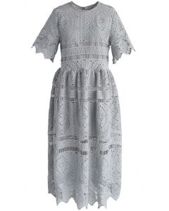 With Your Ingenuity Crochet Dress in Grey