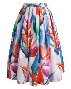 熱帶植物印花中長裙