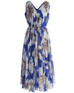 印花雪紡連身裙-藍色