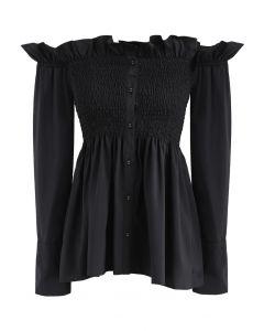 Stylish Sweetheart Ruffle Off-shoulder Top in Black
