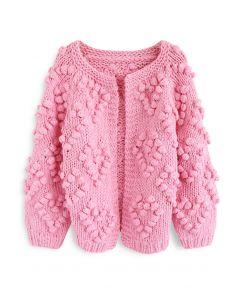 線球裝飾針織開衫-糖果粉