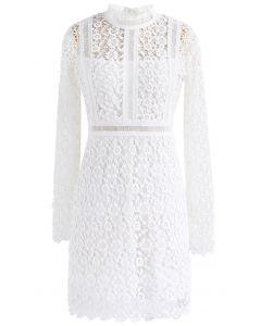 鏤空花卉鉤編直筒連身裙-白色